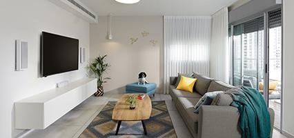 תכנון ,עיצוב פנים והום סטיילינג לדירת קבלן בחולון